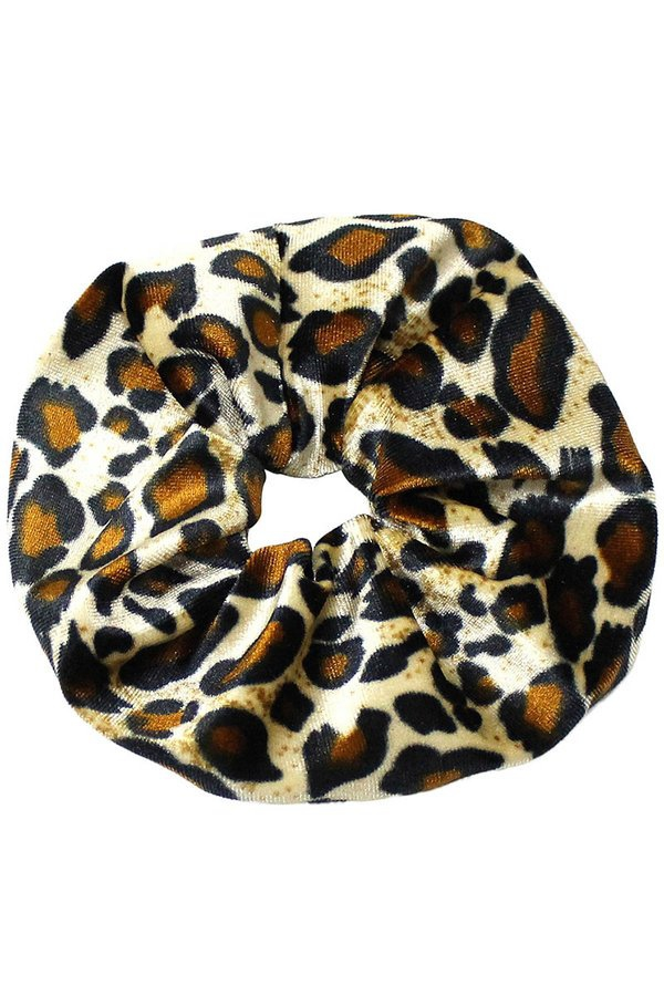 Big velvet cheetah print scrunchie - orangeshine.com