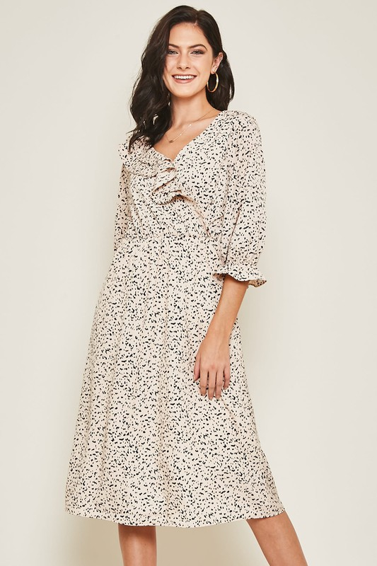 SPOTTED RUFFLE CHEST TRIM WRAP DRESS - orangeshine.com