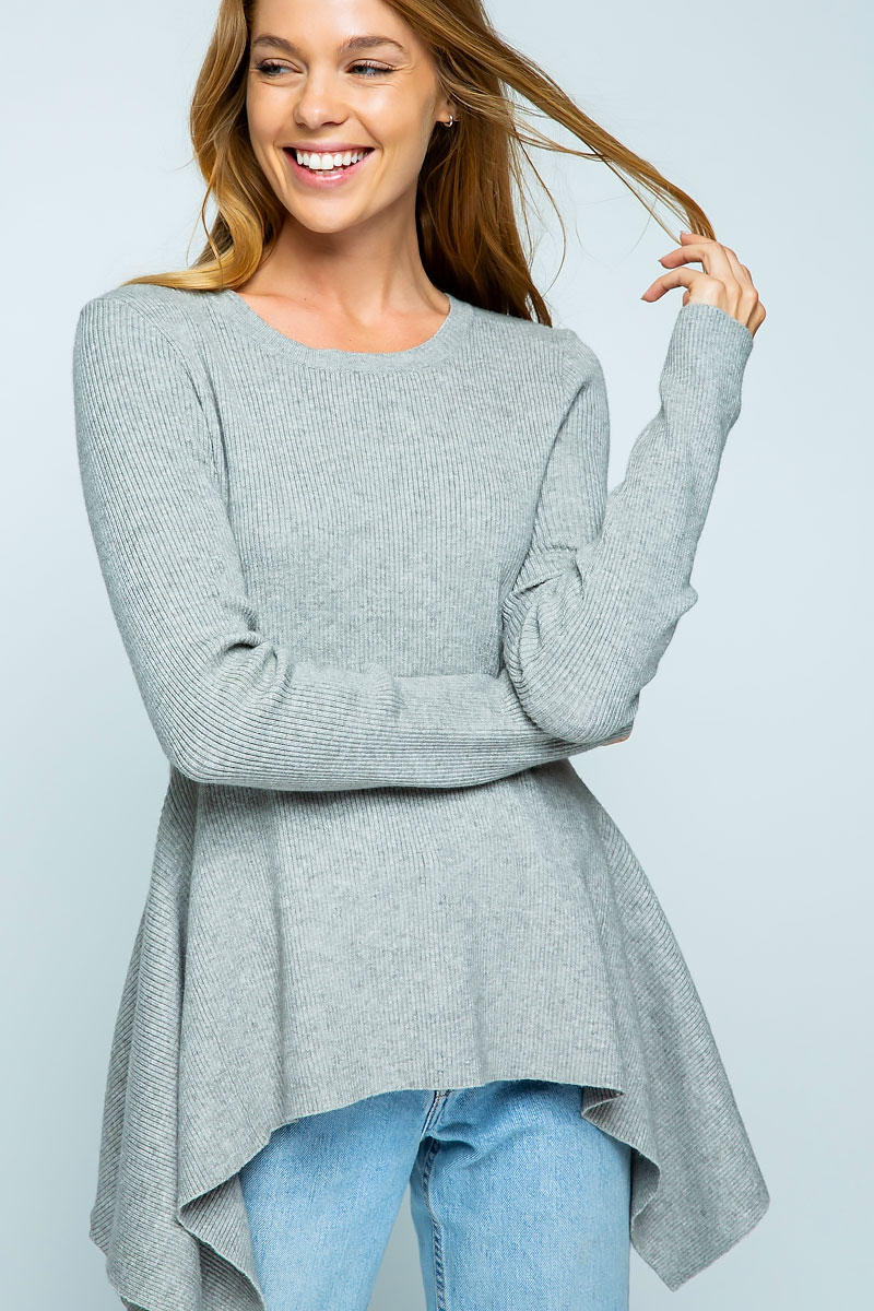 RIBBED KNIT FLARED HEM SWEATER TOP - orangeshine.com