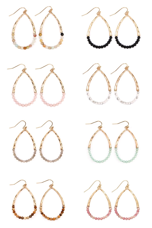 SEMI PRECIOUS PEAR SHAPE EARRINGS - orangeshine.com