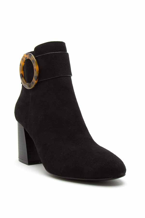 Stacked Heel Almond Toe booties - orangeshine.com