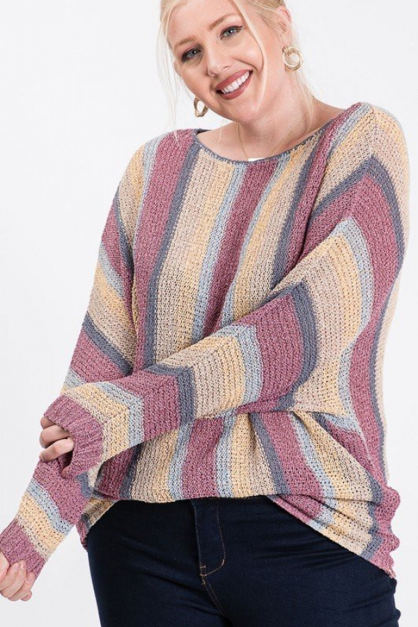 LIGHT KNIT STRIPED DOLMAN SWEATER - orangeshine.com