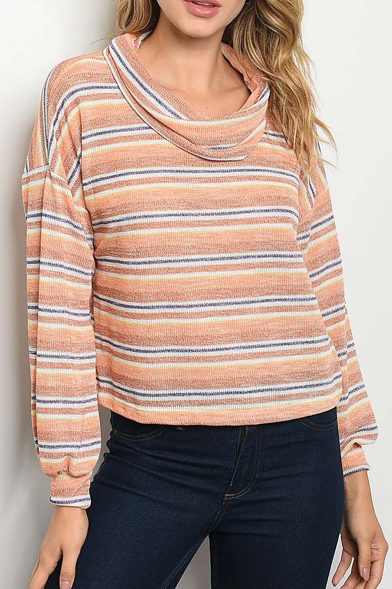 COWL NECK STRIPE DOLMAN CROP TOP - orangeshine.com