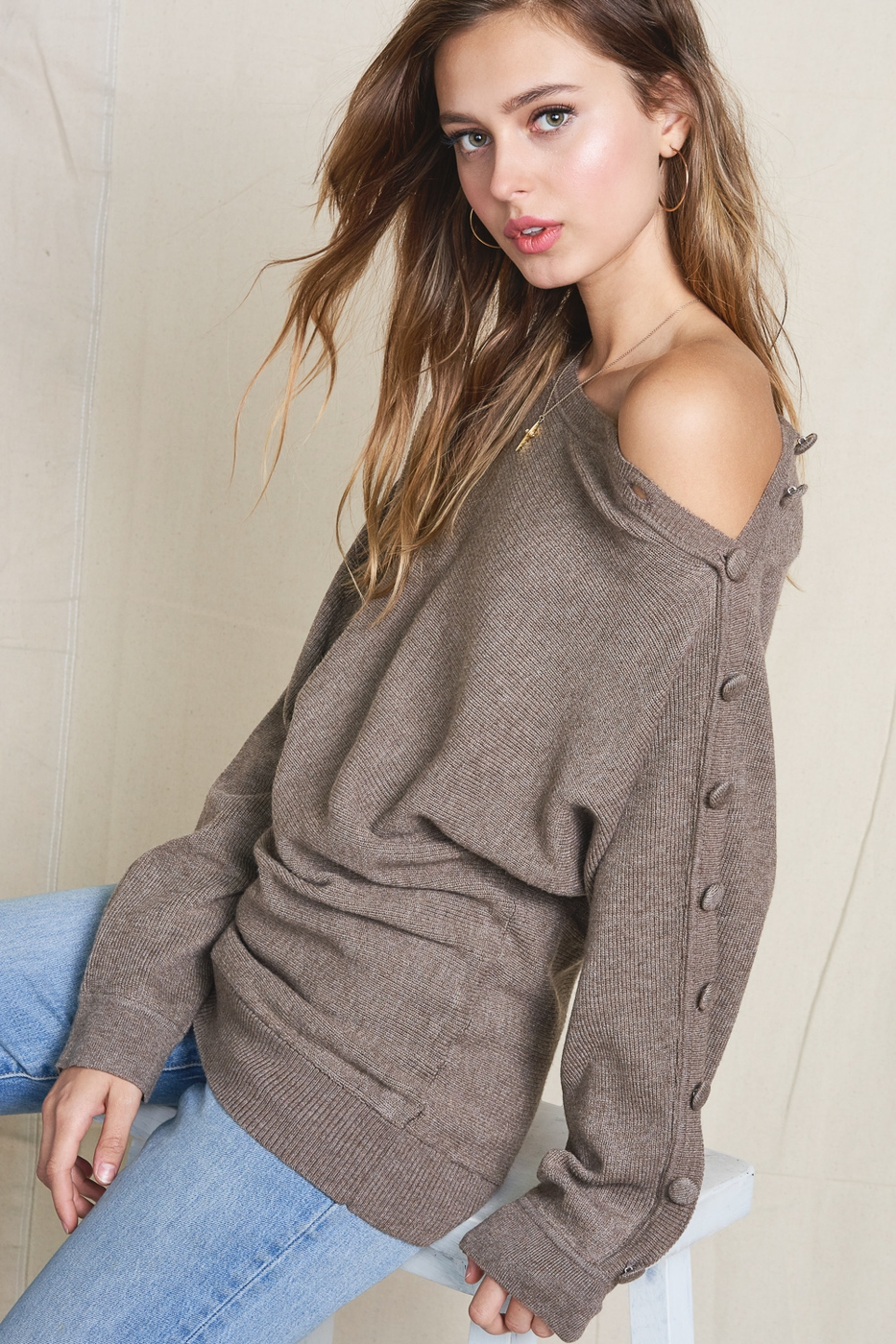 OFF SHOULDER KNIT LONG SLEEVE TOP - orangeshine.com