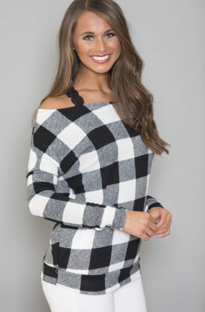 PLUS SIZE Off The Shoulder Plaid - orangeshine.com