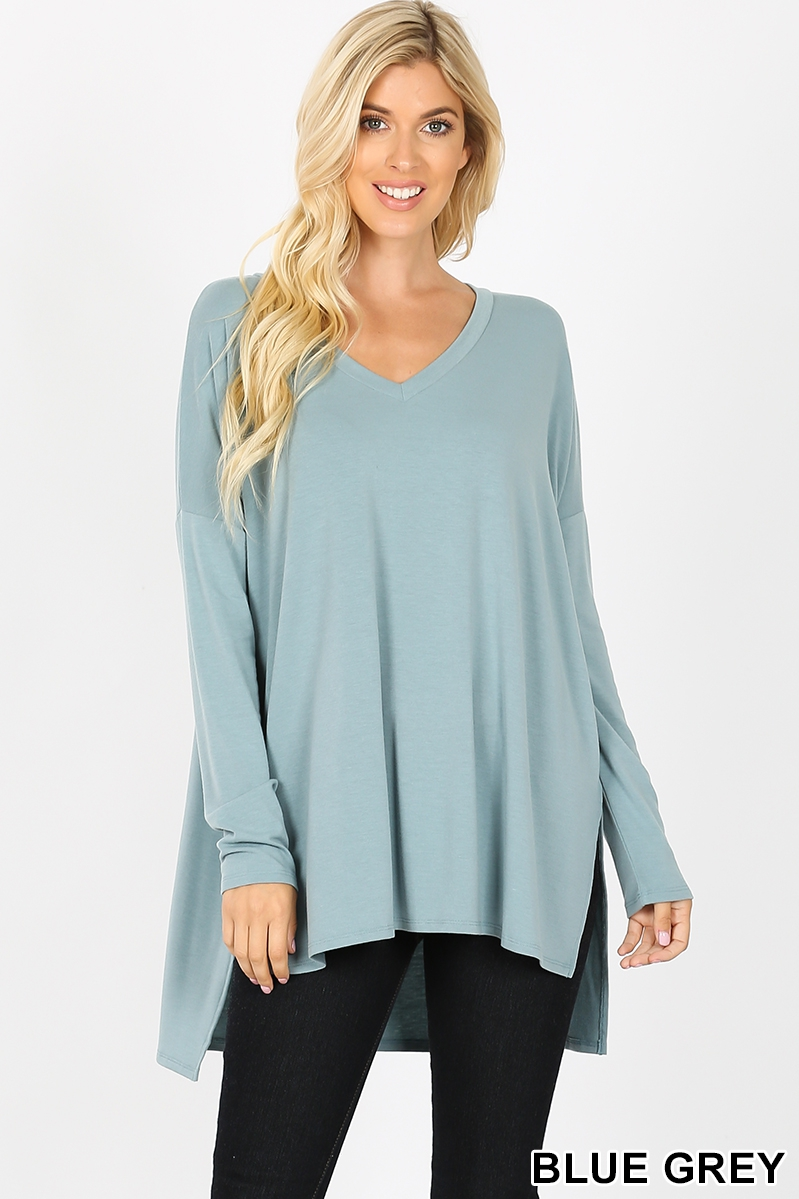 DOLMAN LONG SLEEVE V-NECK SIDE SLIT  - orangeshine.com