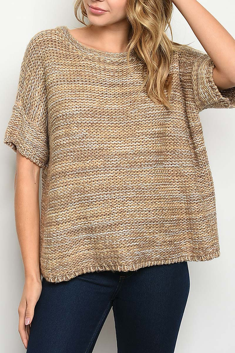 ROUND NECK TWO TONE SWEATER KNIT TOP - orangeshine.com