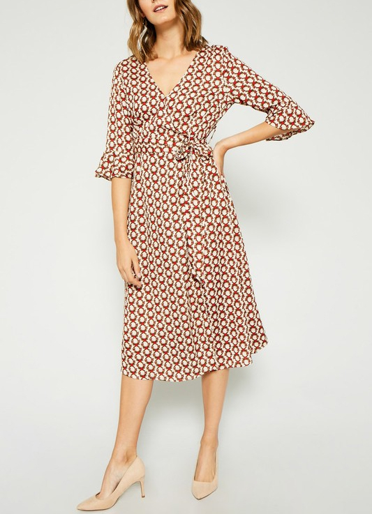 Printed Self-Tie Midi Wrap Dress - orangeshine.com