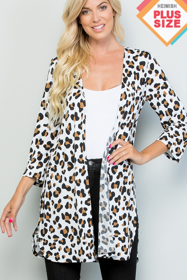 PLUS ANIMAL PRINT CARDIGAN WITH SIDE - orangeshine.com