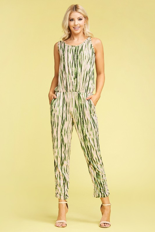 PLUS PRINT SL ROUND NECK JUMPSUIT - orangeshine.com