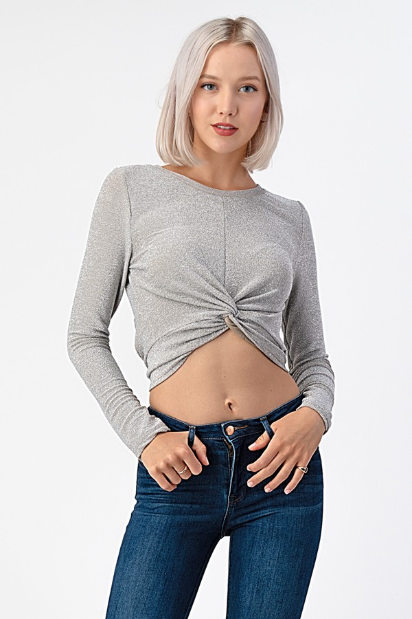 LONG SLEEVE FRONT TWISTED TOP - orangeshine.com