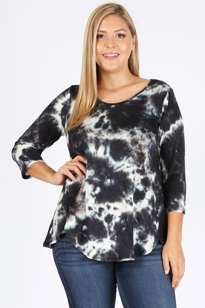 PLUS SIZE TIE DYE PRINT TUNIC TOP - orangeshine.com