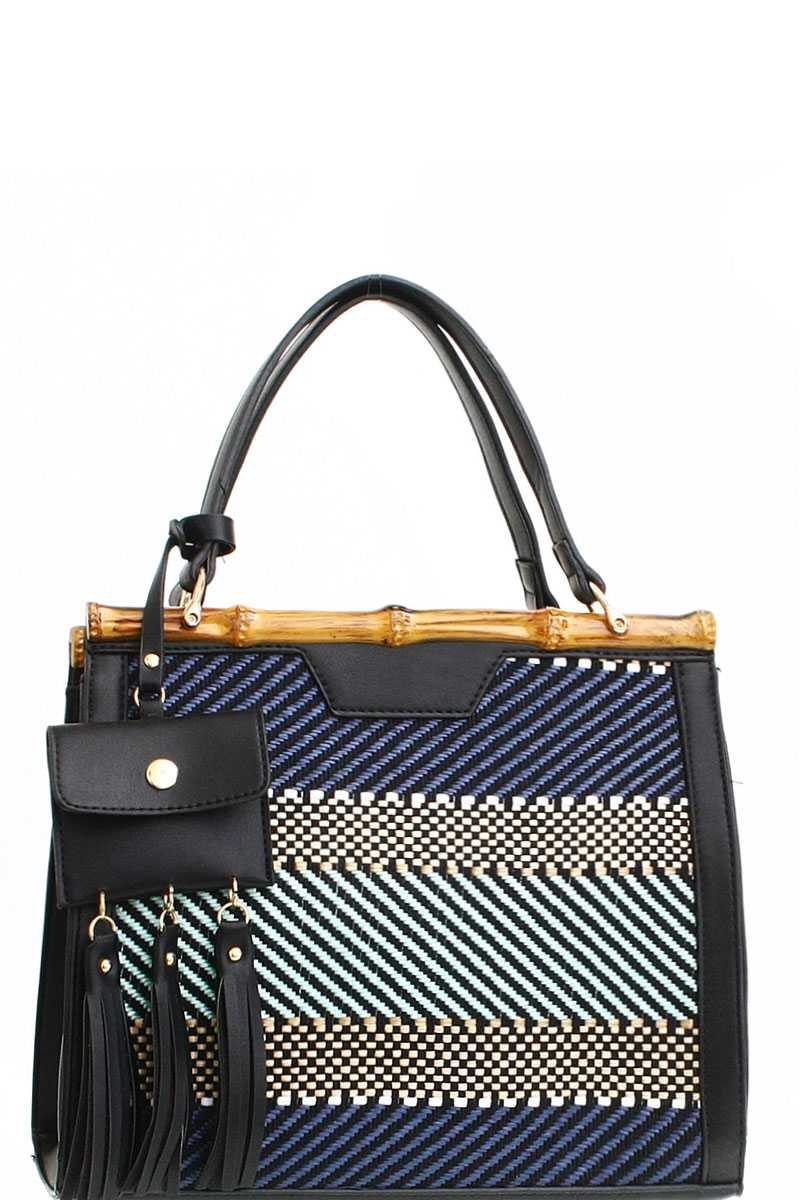 STYLISH WOVEN FABRIC FRONT SATCHEL - orangeshine.com
