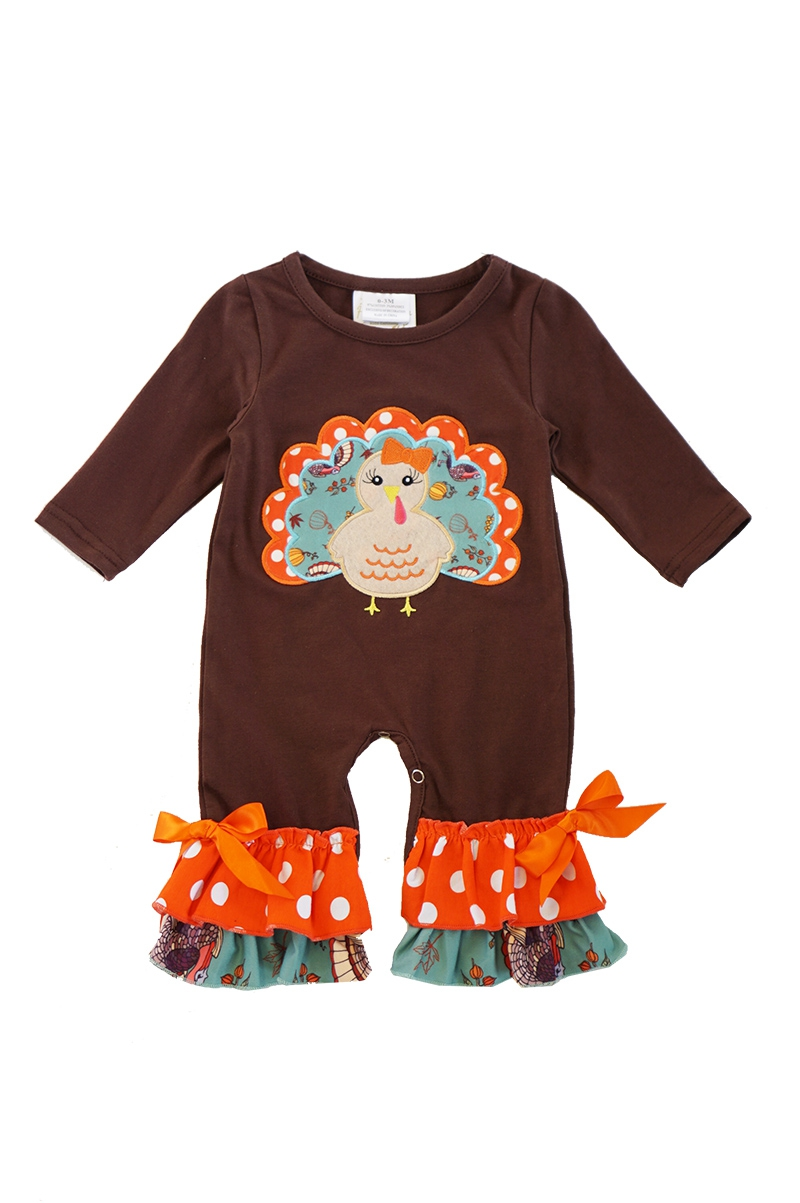 Brown turkey applique baby romper - orangeshine.com