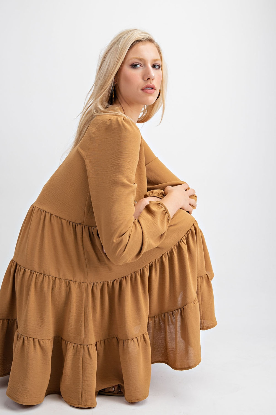 LONG SLEEVE TIERED SWING DRESS - orangeshine.com