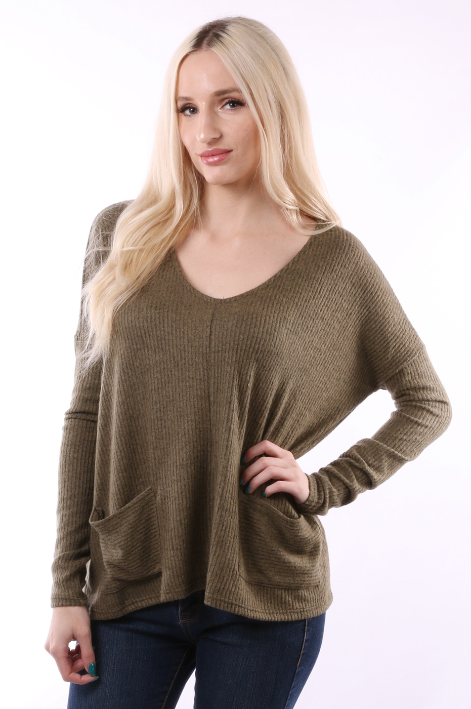 V NECK KNIT TOP - orangeshine.com