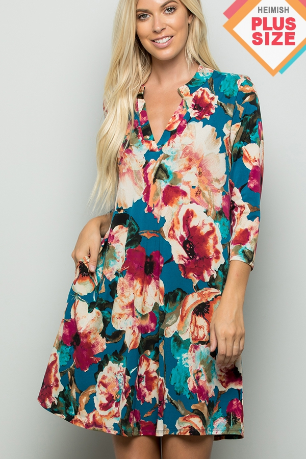 PLUS FLORAL PRINT COLLAR DRESS - orangeshine.com