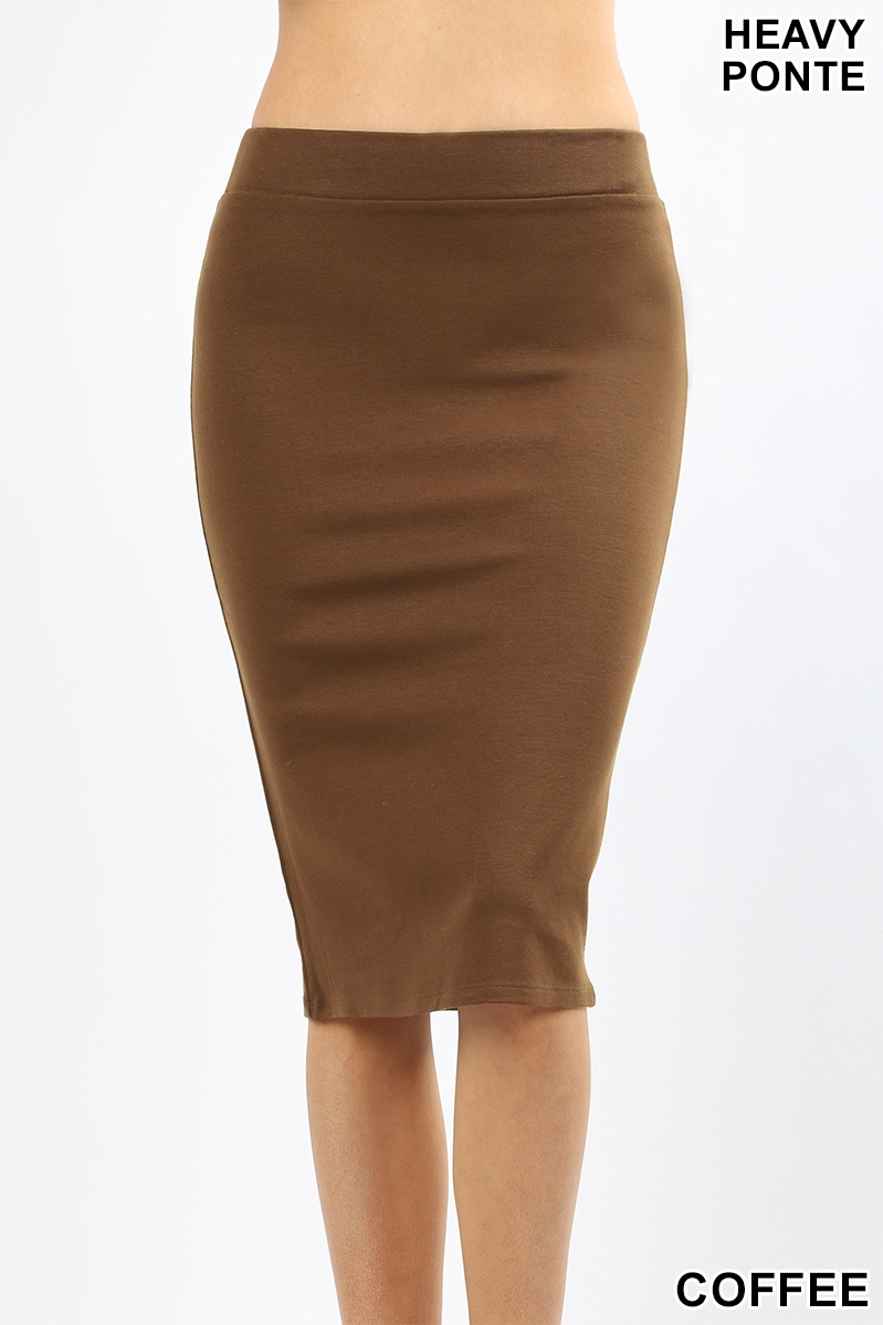 PONTE BASIC KNEE LENGTH PENCIL SKIRT - orangeshine.com