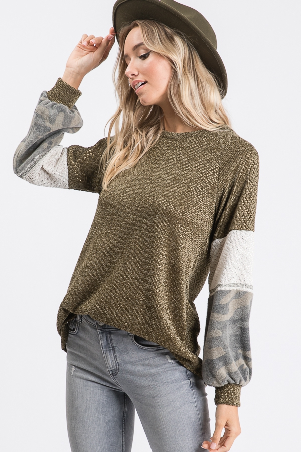 Cozy Velour Camo Sweater - orangeshine.com
