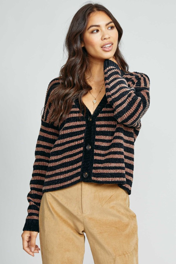 KEEP TALKING STRIPE CARDIGAN - orangeshine.com