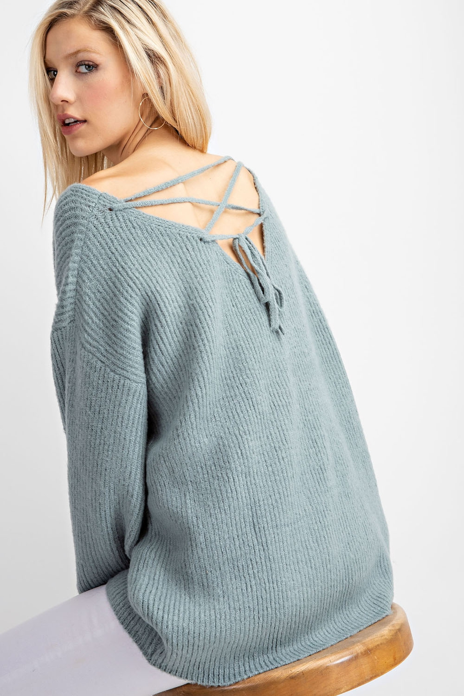 BACK TIE DETAIL LOOSE FIT SWEATER - orangeshine.com