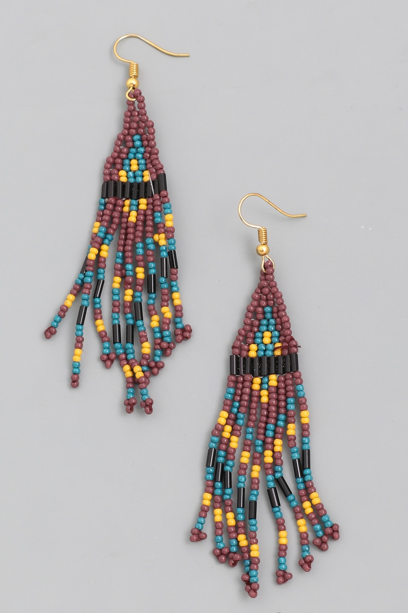 Triangle Beaded Fringe Earrings - orangeshine.com