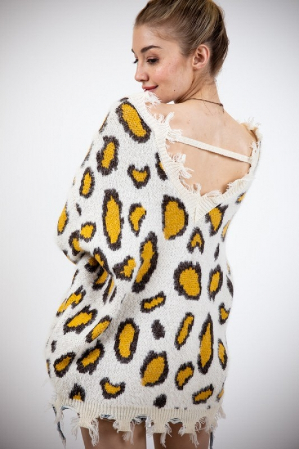 ANIMAL PRINT V-NECK SWEATER - orangeshine.com