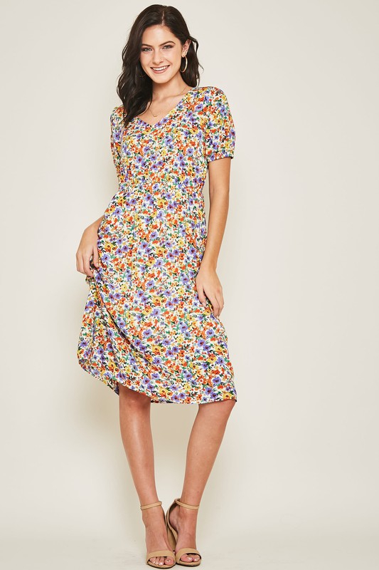 MULTICOLOR CALICO PRINT DRESS - orangeshine.com