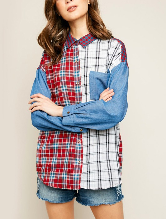 Long Sleeve Mixed Plaid Top - orangeshine.com