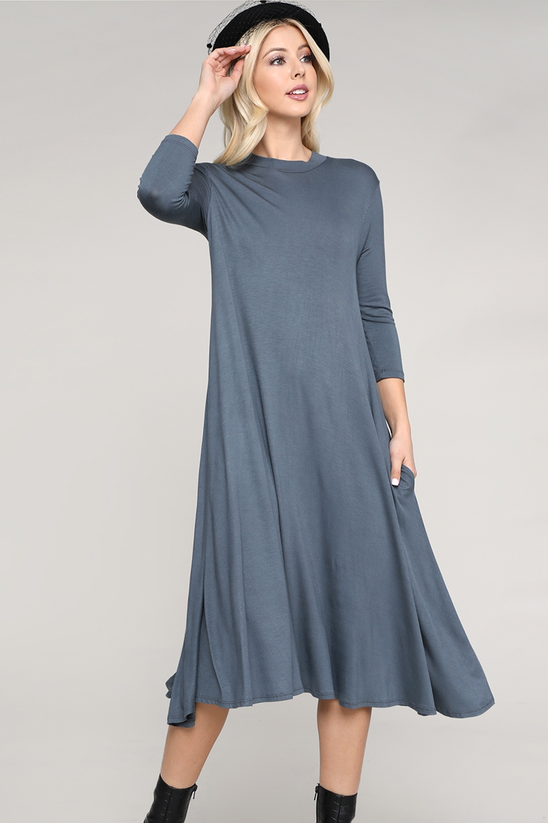 Knit Solid Mock Neck Dress - orangeshine.com