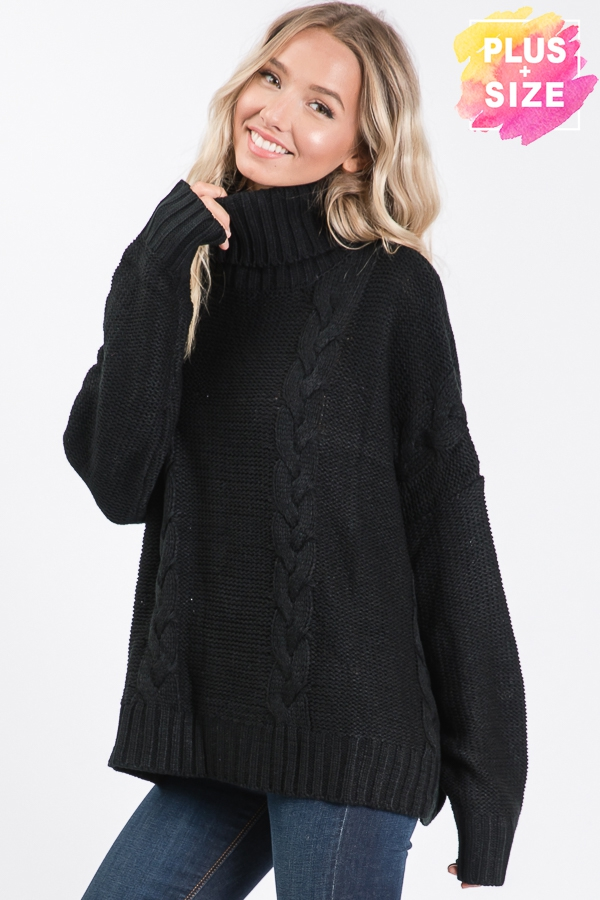 SOLID TURTLE NECK SWEATER PLUS SIZE - orangeshine.com