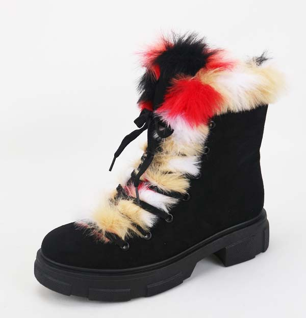 JP Platform Lace Up Fur Booties   - orangeshine.com