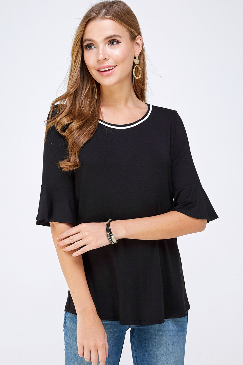 Knit Elbow Bell Sleeve Blouse - orangeshine.com