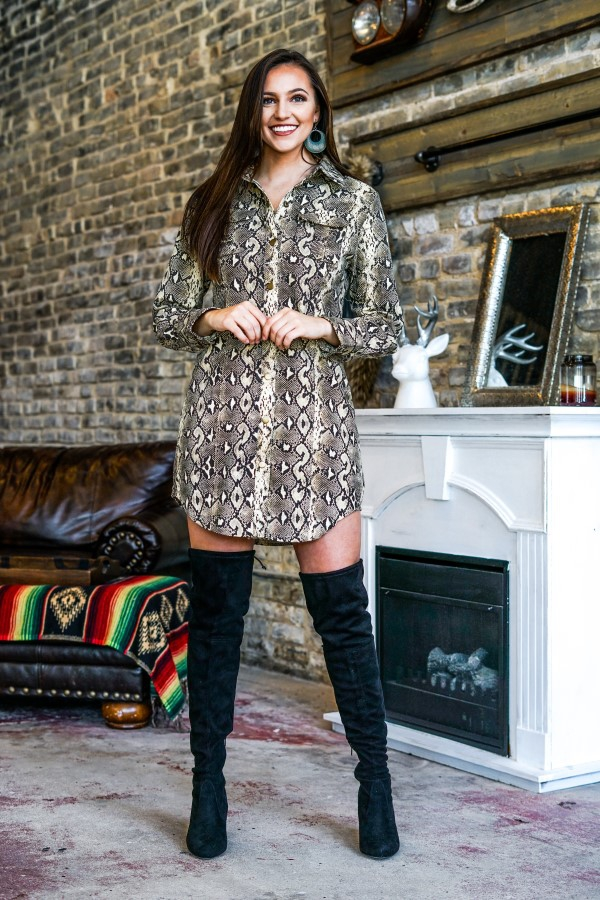 CAMO LONG SLEEVE SHIRT DRESS - orangeshine.com