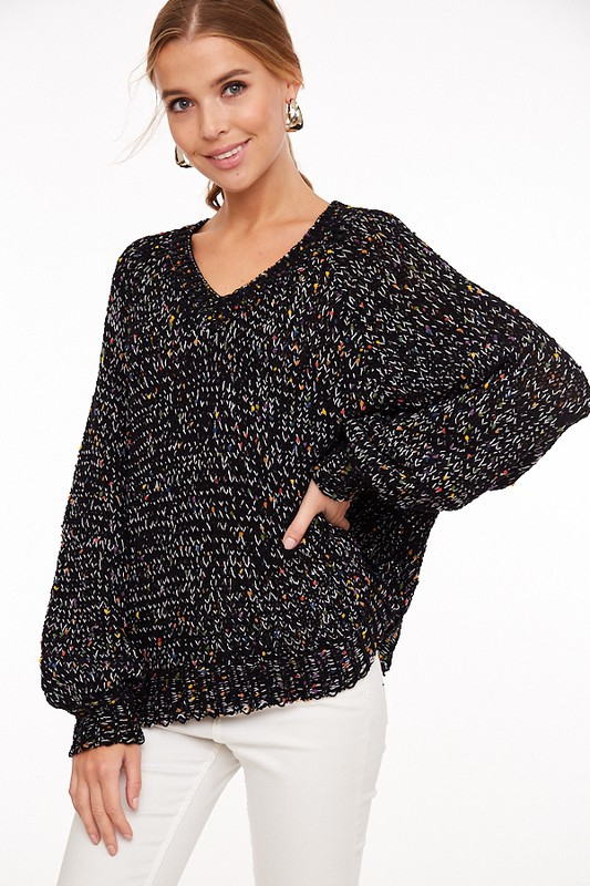 V Neck Confetti Sweater - orangeshine.com