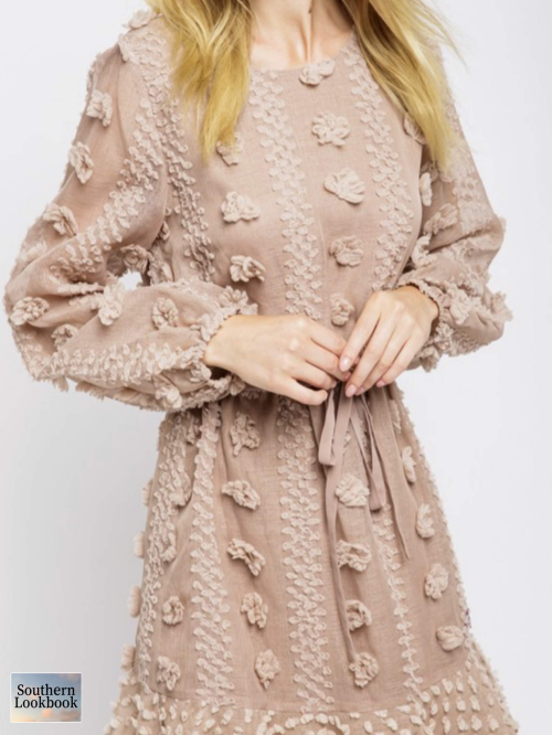 FLORAL EMBOSSED WOVEN DRESS - orangeshine.com