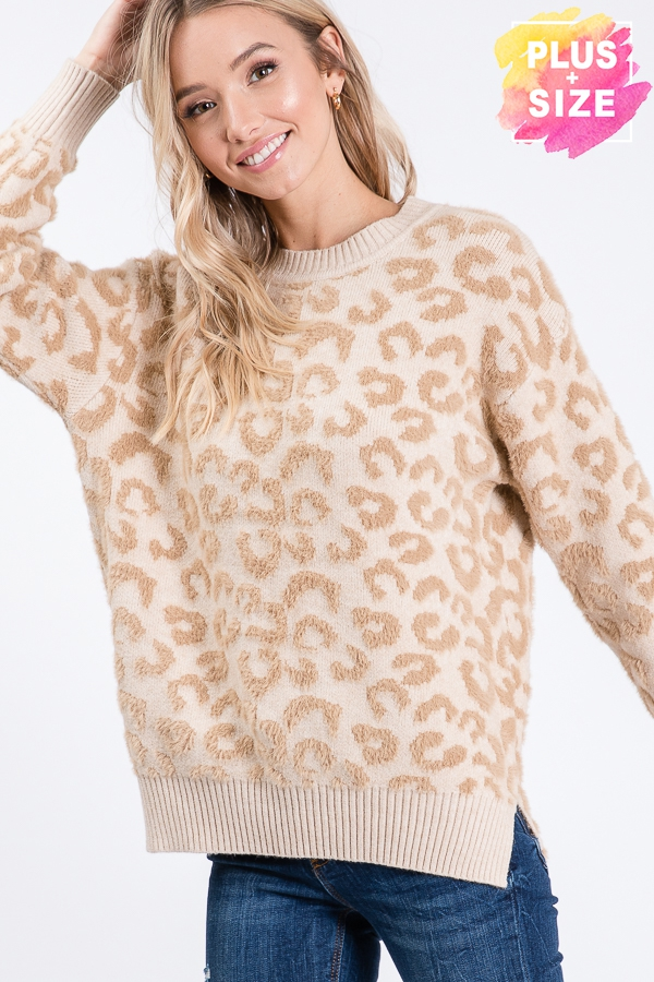LARGE LEOPARD PRINT SWEATER PLUS SIZ - orangeshine.com