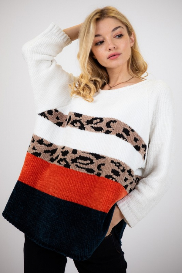 LEOPARD ACCENT LONG SLEEVE SWEATER T - orangeshine.com