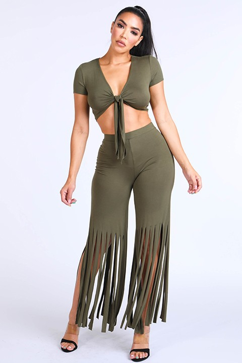 Tie front top & fringe hem pants set - orangeshine.com