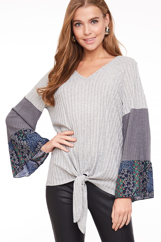 Bell Sleeve Knotted Top - orangeshine.com