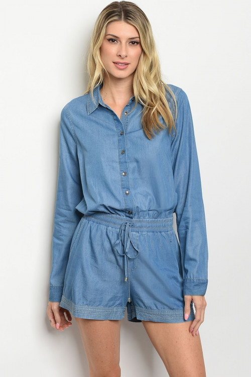 LONG SLEEVE BUTTON DOWN DENIM ROMPER - orangeshine.com