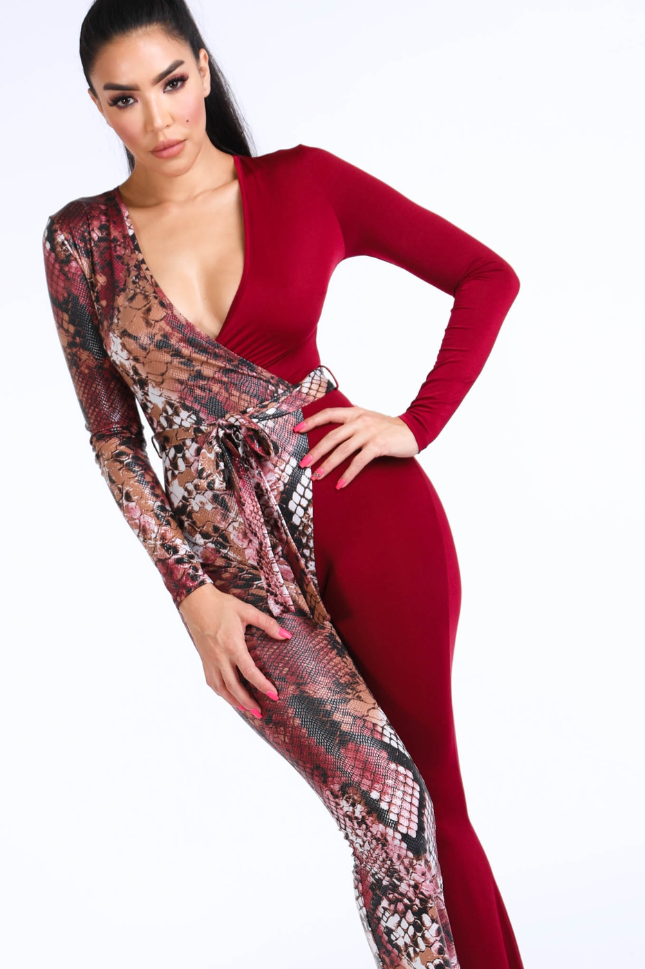 Animal Contrast Jumpsuit - orangeshine.com