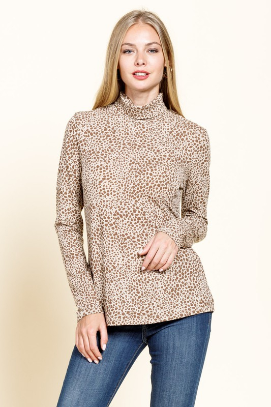 ANIMAL PRINT LONG SLEEVE MOCK NECK - orangeshine.com