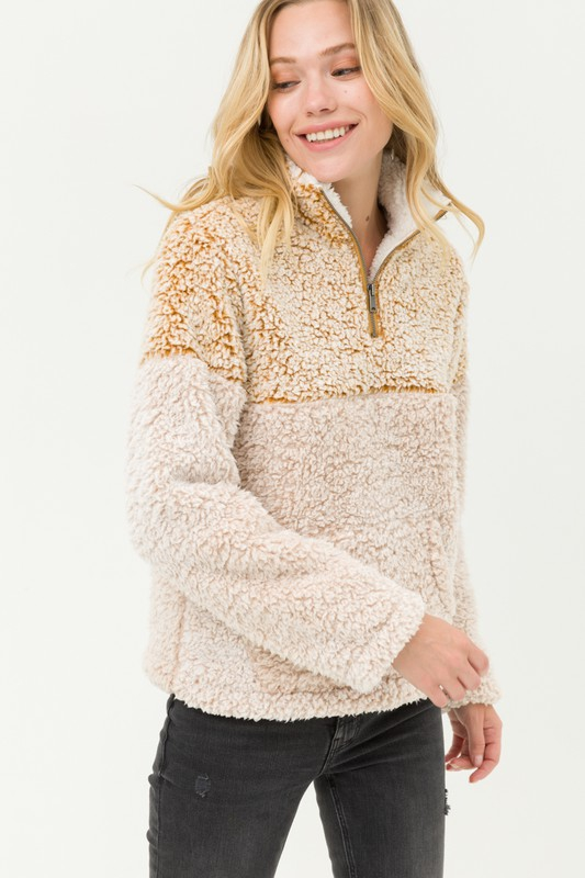 High neck zip up sherpa fleece top - orangeshine.com