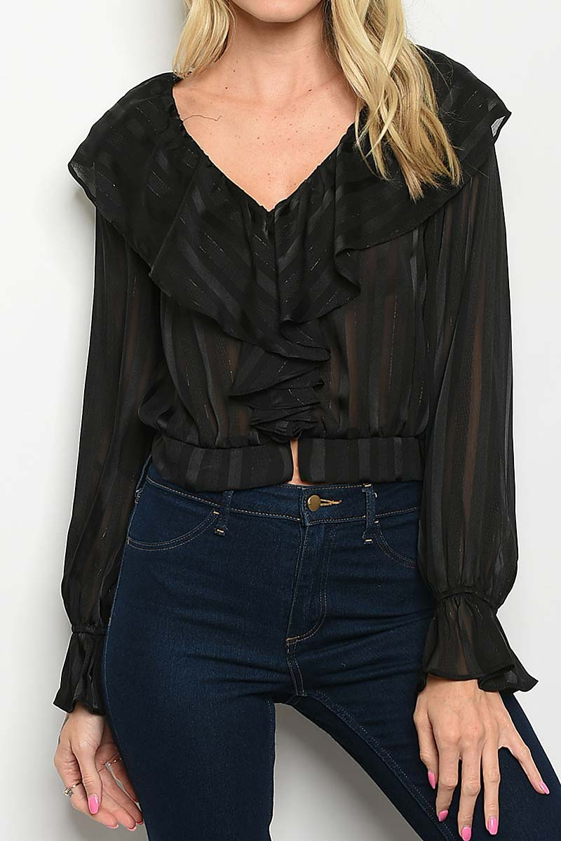 V NECK RUFFLED STRIPE FASHION TOP - orangeshine.com