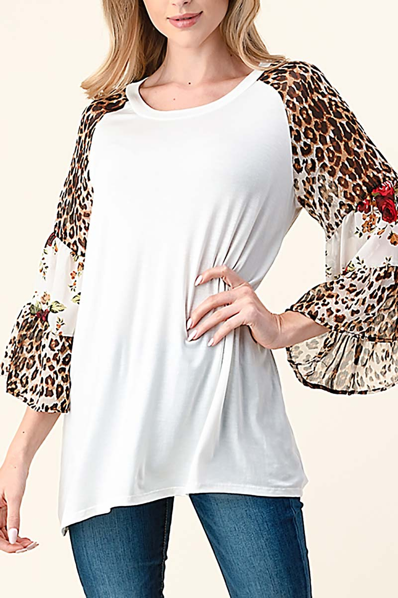 MIX PRINT BELL SLEEVE TOP - orangeshine.com