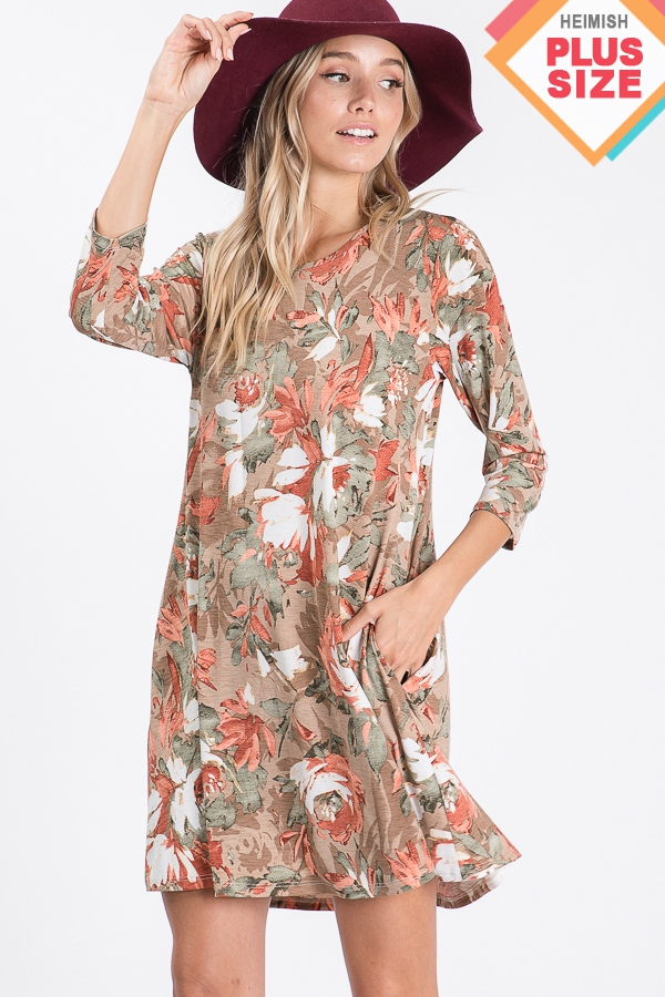 PLUS FLORAL PRINT DRESS WITH SIDE PO - orangeshine.com