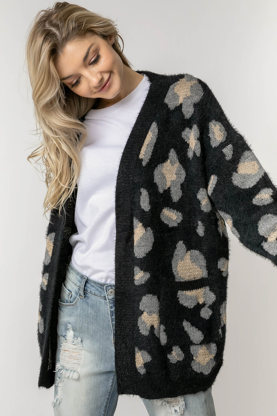 LONG SLEEVE ANIMAL PRINT CARDIGAN - orangeshine.com