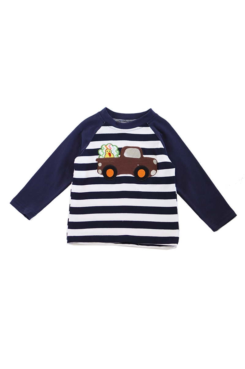 Stripe turkey truck applique boy - orangeshine.com
