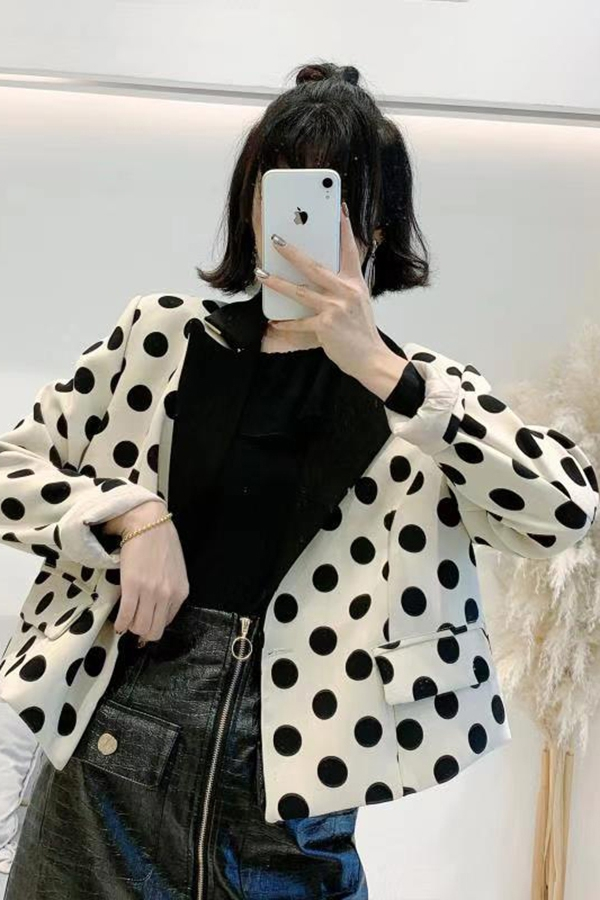 Polka dot tailored jacket - orangeshine.com